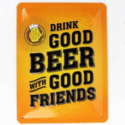 "Bild von Blechschild ""Drink GOOD BEER with GOOD FRIENDS"" A5 20 x 15 cm"